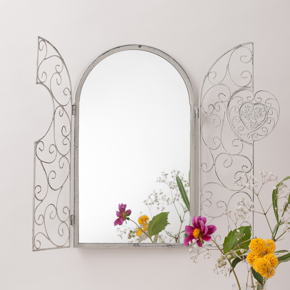 shabby chic garden mirror with shutters hand crafted mirrors. Black Bedroom Furniture Sets. Home Design Ideas