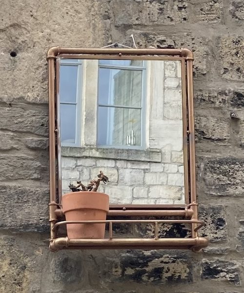 Pipe frame wall mirror 02