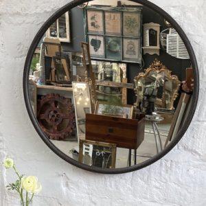 Round matt black textured frame